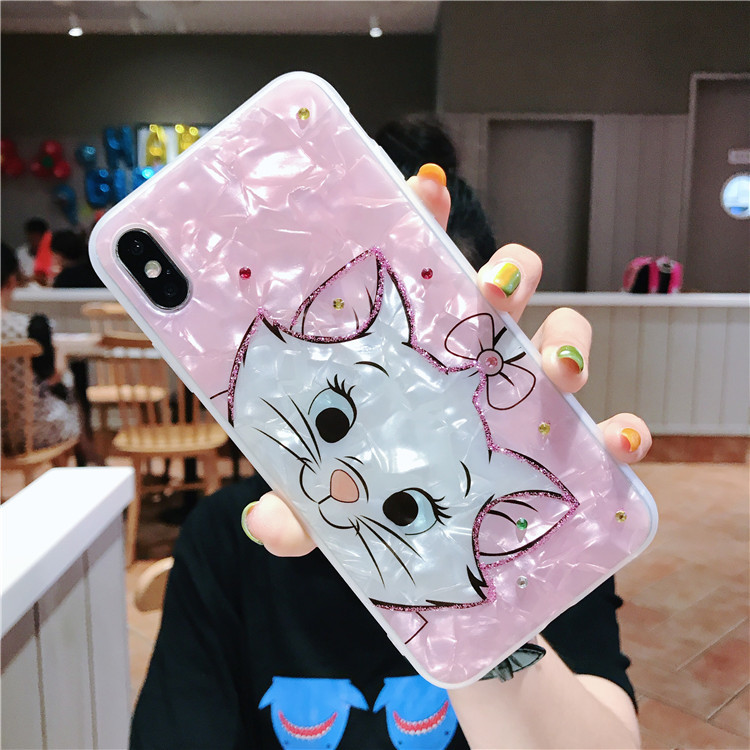Cartoon diamond Marie Cat Soft Silicone Phone Case For iphone XS MAX case Cute Pink beautiful Cover for iphone 6 6S 7 8 plus X
