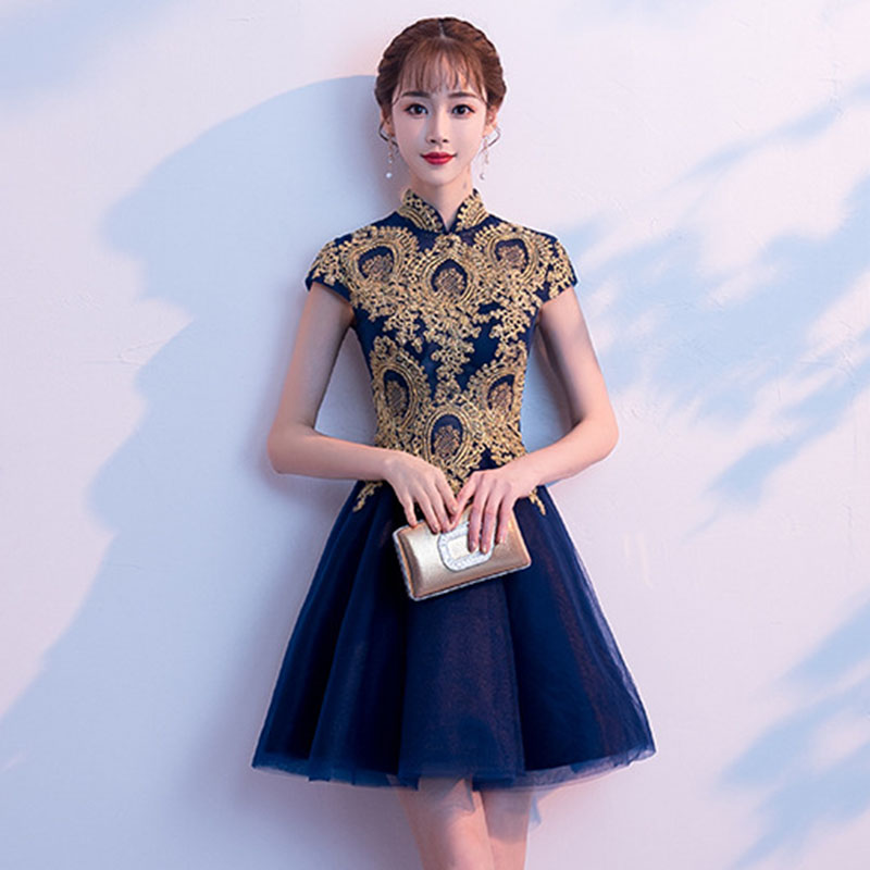 Vintage Navy Blue   Cocktail     Dresses   Mandarin Collar Chinese Women Robe De Soiree Embroidery Flower Evening Party Gown