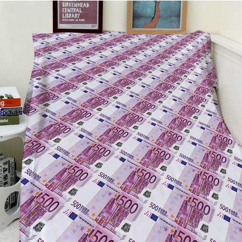 Super Soft Blankets Plush Machine Wash Funny Five Hundred Euros Money Sofa Bed Throw Cobertor Kids