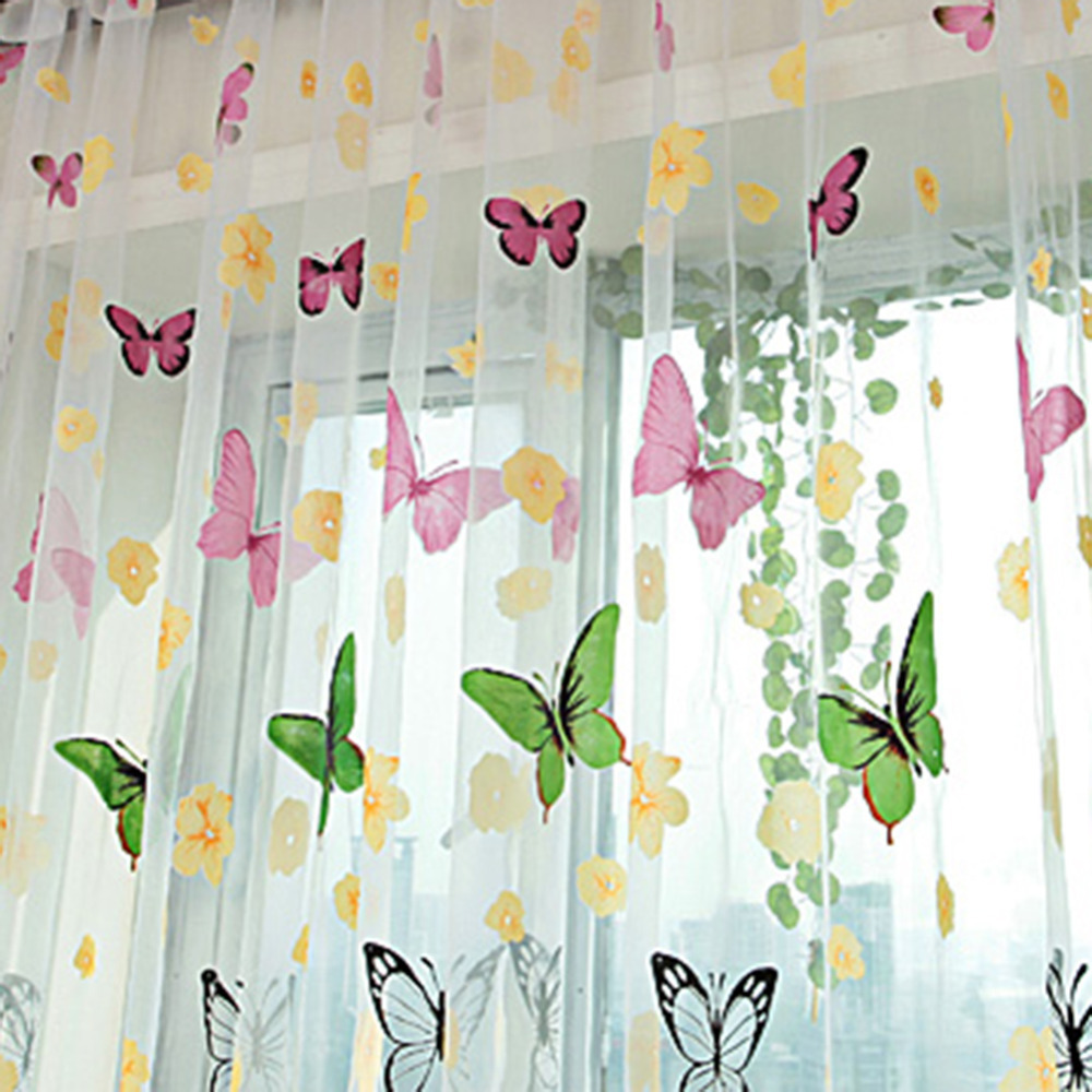 Butterfly Print Curtains Sheer Window Panel Room Divider For Living Wholesale Free Shipping In From Home Garden On