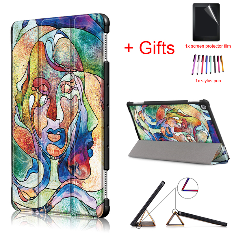 Ultra Slim Magnet Case for Huawei MediaPad M5 lite 10 BAH2-W19 BAH2-L09 BAH2-W09 10.1 Tablet Auto Sleep/Wake Cover+Film+Pen light weight painting case for huawei mediapad m5 lite10 case for huawei m5 lite 10 bah2 l09 w19 dl a tablet 10 1 cover