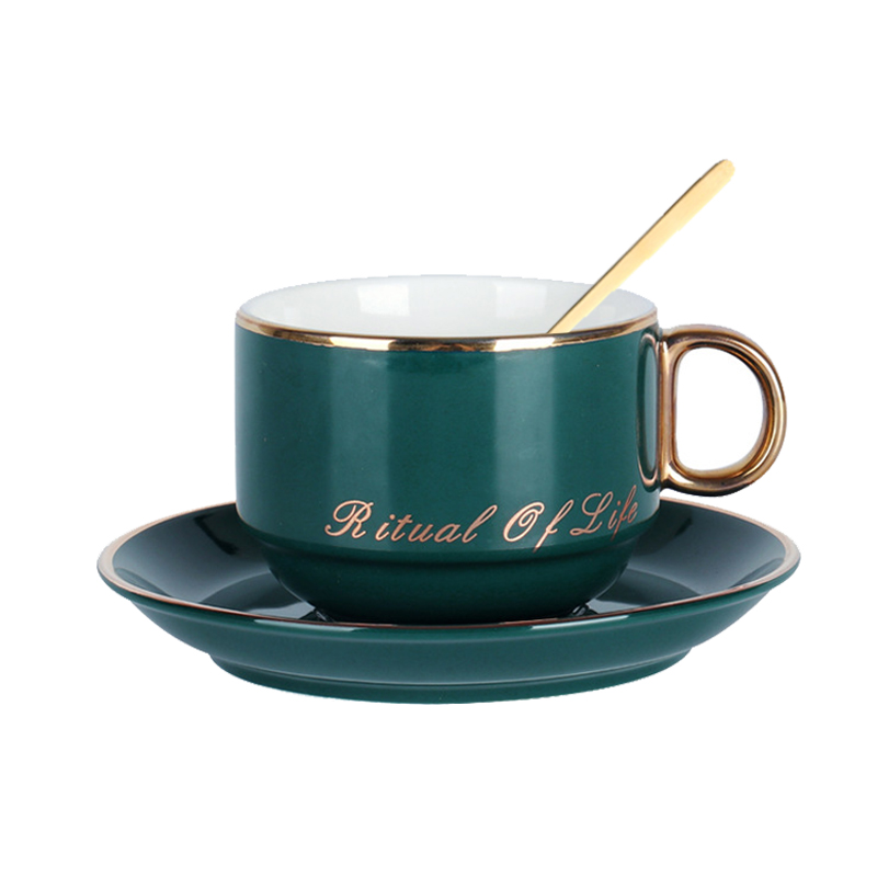 Northern Europe Royal First-class Ceramic Porcelain Coffee Cup Set Tea Cup Milk Cup With Saucer 304 Stainless Steel Golden Spoon