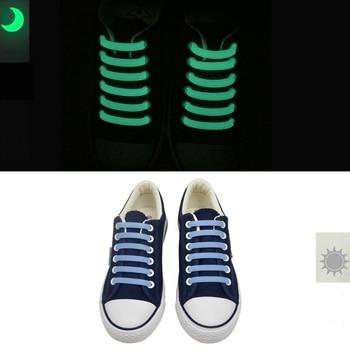 12 Pcs/Set Luminous silicone shoelaces Flash Party Glowing Shoes Lace Shoestrings Lazy no tie for men and women L4