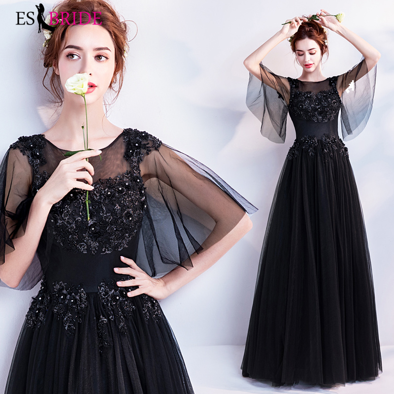 Black   Evening     Dresses   Long 2019 Simple Plus Size O-neck Sleeveless Wedding Guest Gown Backless Elegant Abito Da Cerimonia ES2213