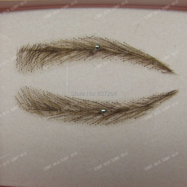 whole sale hand made human hair false eyebrow 013 dark brown color invisible net 1