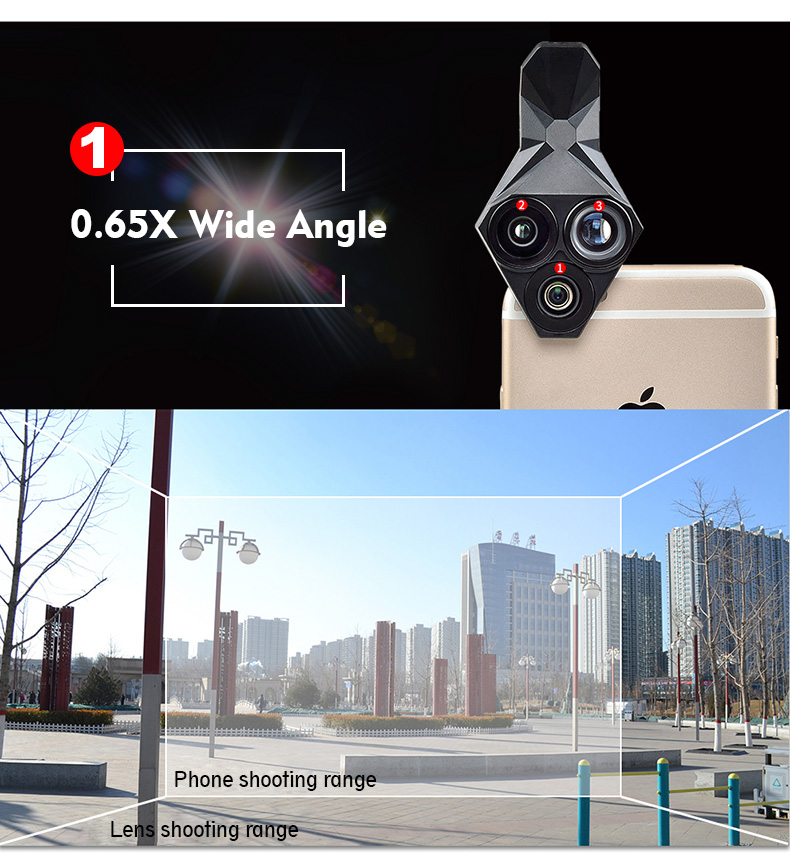 Ulanzi 3 in 1 Phone Camera Lens Kit Wide Angle Macro Fisheye Lens for iPhone Samsung HUAWEI VIVO Xiaomi Smart Mobile phones 6