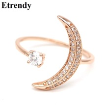 Rhinestone Moon Ring For Women Fingers Rose Gold Color Adjustable Rings Fashion Jewelry Accessories