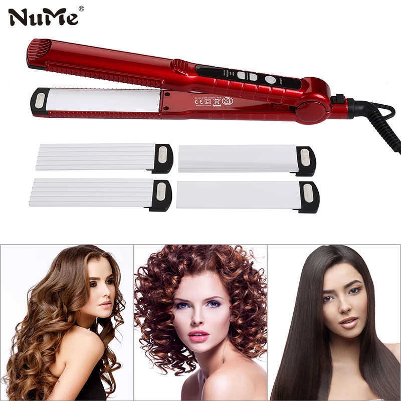 3 in 1 Hair Straightener + Hair Curler Rollers + Ceramic Corrugation Wave Plate Curling  ...