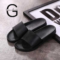 Dropshipping GTIME Women Beach Slippers Unisex Black Slides Summer Shoes Bathroom Flat Sandals Indoor Female Slippers GXJJ024