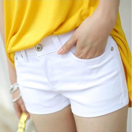 New Summer Womens Casual Jeans Shorts Plus Size Ladies Solid White Black Denim Shorts Female Slim Leisure Denim Shorts Feminino