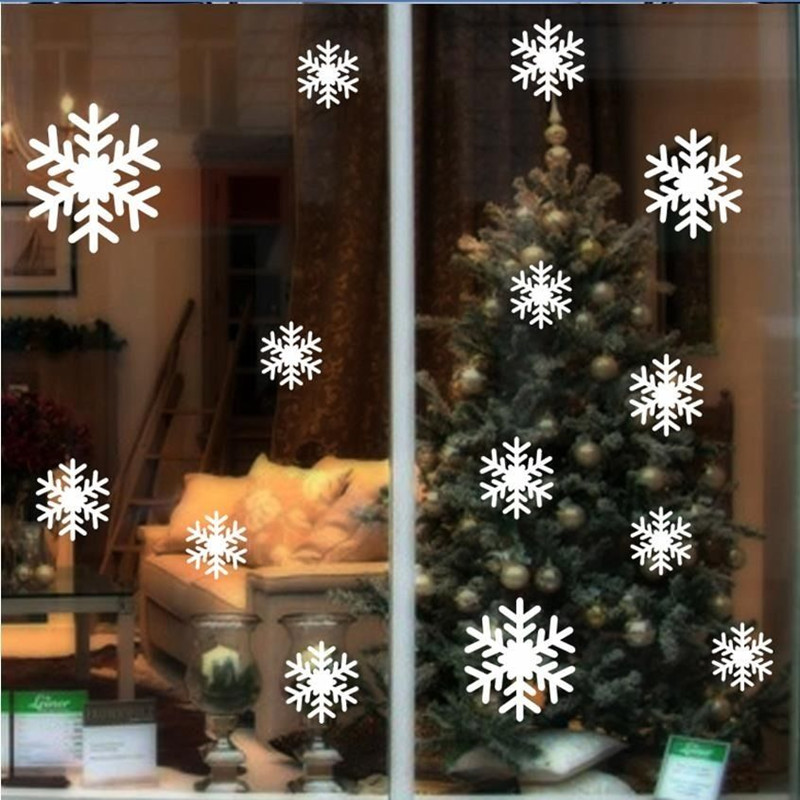 14pcs snow flakes window stickers winter snowflake wall stickers christmas window wall decals xmas christmas decoration d063 - Christmas Window Stickers