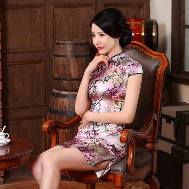 World Apparel nature silk Cheongsams Dress clothes vintage fashion female short Cheongsam Special dress JS-MSF-0059