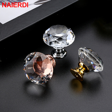 NED 25-40mm Diamond Shape Design Crystal Glass Knobs Cupboard Drawer Pull Kitchen Cabinet Door Wardrobe Handles Hardware
