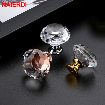 NAIERDI 20-40mm Crystal Handle Diamond Glass Knobs Cupboard Drawer Pull Kitchen Cabinet Door Wardrobe Handles Hardware 10pcs 30mm diamond shape design crystal glass door knobs cupboard drawer pull kitchen cabinet wardrobe handles hardware decor