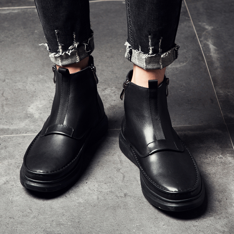 Couro Homem Preto Com Moda De Homens Juventude Botas Para Militares Bota Dos Sapato Casual Clássico Sapatos Black Trabalho Genuíno Zíper Os Tornozelo 2018 aPq86wn