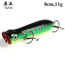 1pcs Fishing Tackle 3D Eyes 8CM 11G Pesca 6# Treble Hooks Popper Fishing Lure Plastic Wobbler Artificial Hard Bait 16#