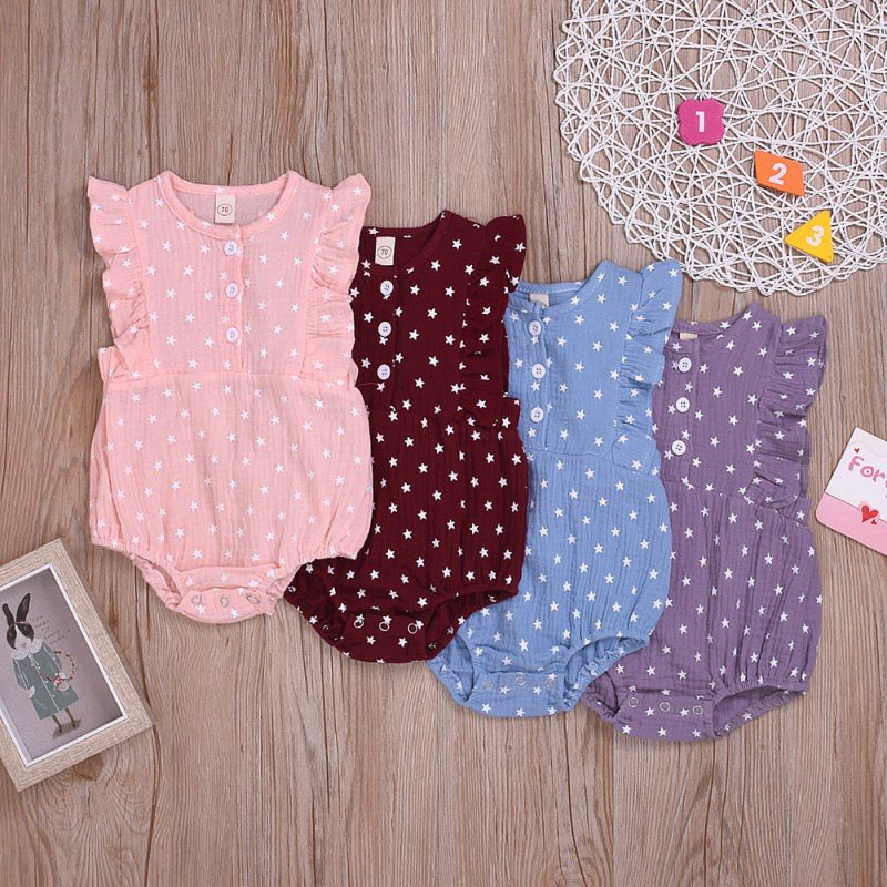 Summer Baby Newborn Girls Star Pattern Jumpsuit Flare Sleeve Romper Infant Casual Jumpsuit Outfits