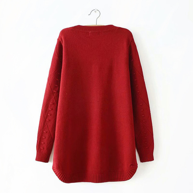 E2 Autumn Winter Casual Sweaters 4XL Plus Size Women Clothing Fashion Loose knitting Pullovers 8567