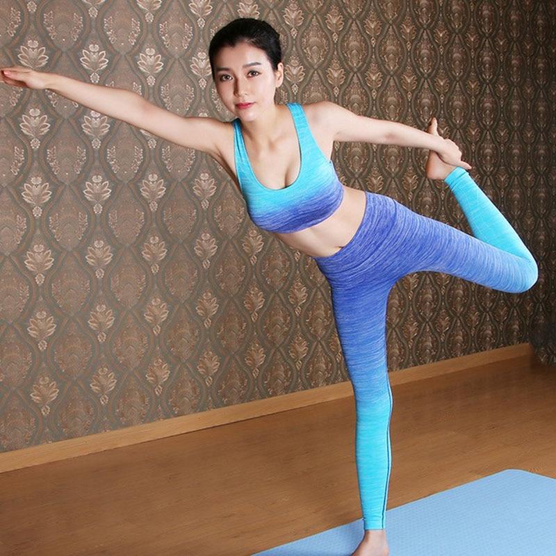 Women Slim Leggings+Tops Workout Yogaing Sets Bra Shirts
