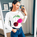 Cotton Women Jumper Sweatshirt Colorful Ice Cream 3D Artificial Fur Plush Ball Casual Women Tops Pullovers O-neck