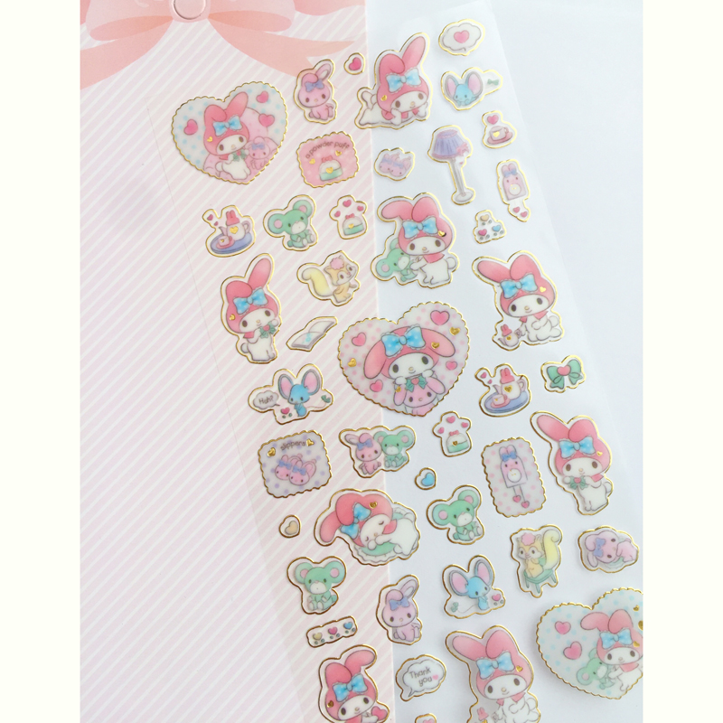1 Sheet Golden Foil Melody Twin Star Stickers DIY Stick Label PVC Phone Hand Account Decor Sticker Stationery