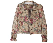 Plus size  Rose Print Thin short  Denim coat, High quality Flowers Printing Denim Jacket,2015 Autumn and Spring outwear