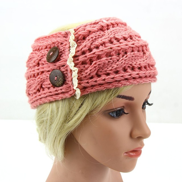 Muqgew 2018 Women Crochet Headband Botton Knit Winter Headwrap Ear