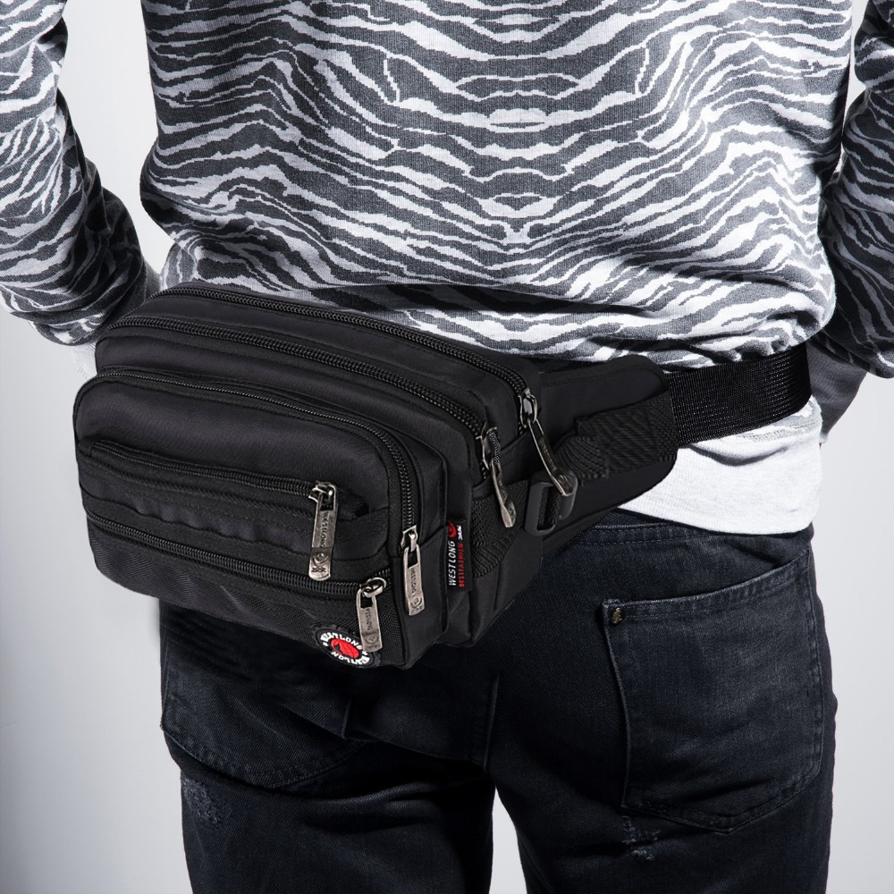 Image 2 - Waist Pack Casual Functional Fashion Men Waterproof Fanny Pack Women Belt Bum Bag Male Phone Wallet Pouch Bags Unisex 98011-in Waist Packs from Luggage & Bags