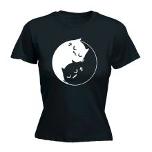 Yin Yang Kitten WOMENS FITTED T-SHIRT Tee Funny Mothers Day Chinese Forces Kitten Printed Funny T Shirts Women Tricolor