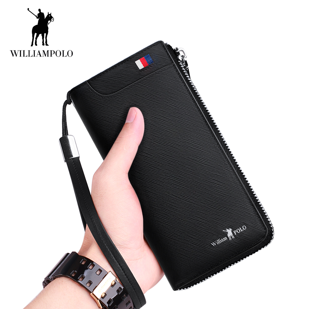 WilliamPOLO Men Wallet Long Clutch Accordion Credit Card Holder Genuine Leather Phone Purse Multi Card Case Zipper Organizer 121