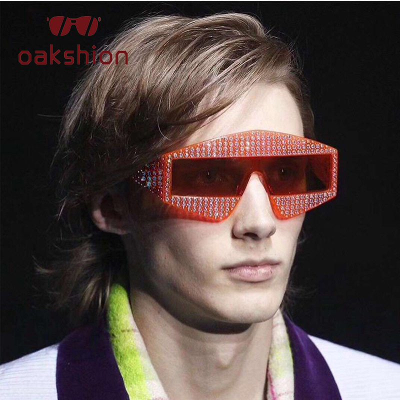 212be0eb495 Oakshion New Arrival Women Fashion Oversized Frame Diamond Frame Polygon Sunglasses  Rhinestone Bling Square Outdoor Shades 2018