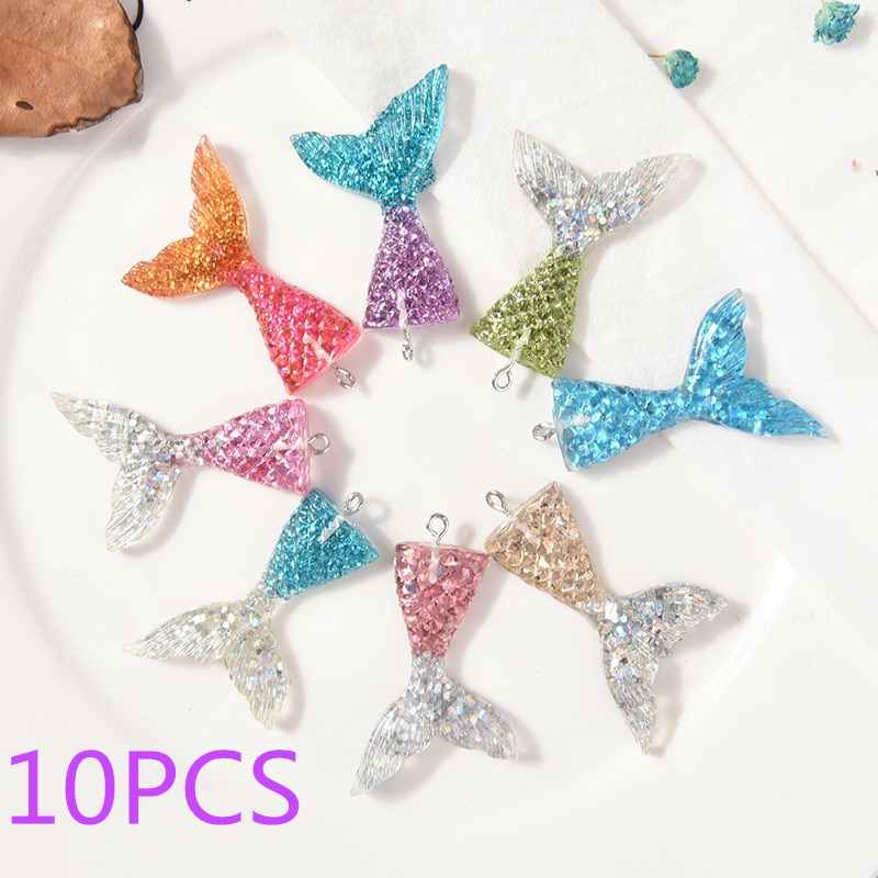 10PCS Resin Multi Color Mermaid Tail Charms Pendants Handmade Hanging Decoration Findings Jewelry Making Accessories