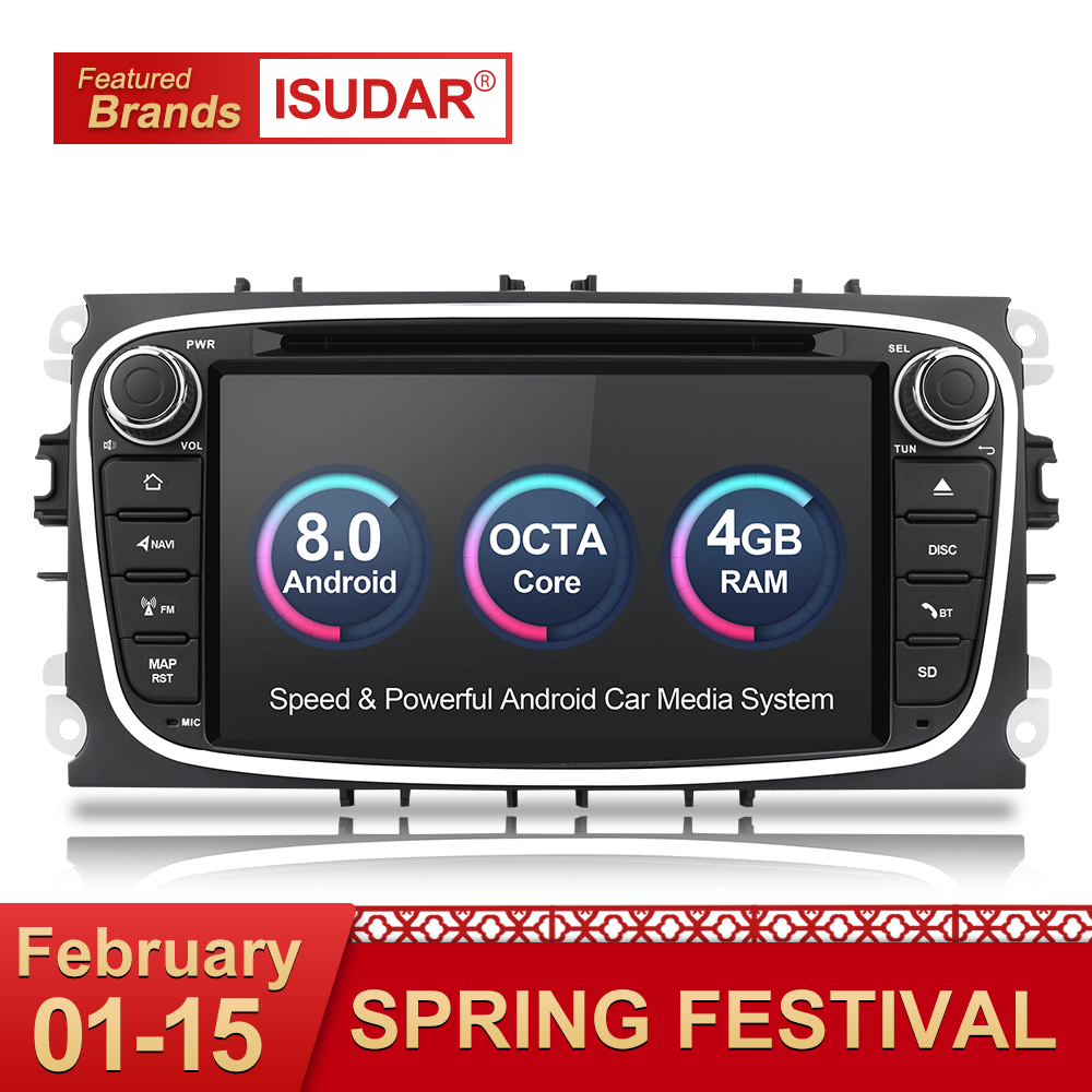 Isudar Автомагнитола на Android 8.0 2 Din С Сенсорным 7 Дюймовым Экраном для Автомобилей FORD/Focus/Mondeo/S-MAX/C-MAX/Galaxy RAM 4GB 32GB Радио DSP