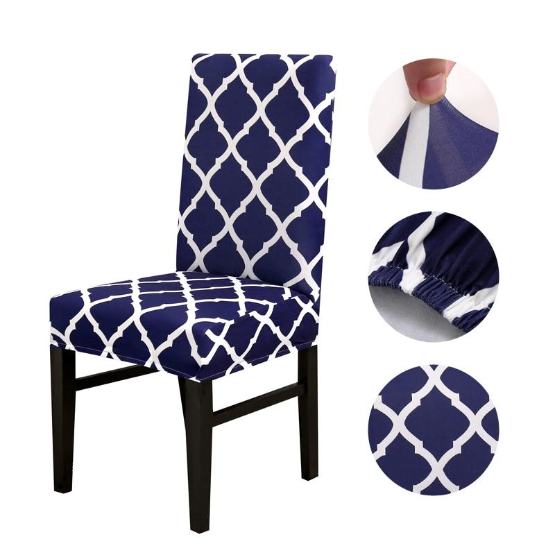 Sandalye kılıfı geometrik desenler büyük elastik Slipcover Modern mutfak koltuk durumda streç sandalye kılıfı ziyafet için housse sandalyeler 1 adet