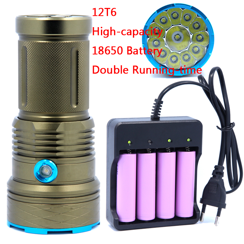 25000LM Super Power light 12T6 LED flash light 12*XML T6 LED Flashlight Torch Lamp Light For Camping use high capacity batteries p80 panasonic super high cost complete air cutter torches torch head body straigh machine arc starting 12foot
