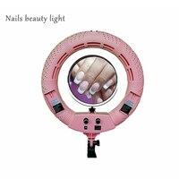 Yidoblo 12 ''38 W rosa FS-390II Bicolor SMD LED Selfie Ring Lichter Nägel schönheit lichter Mit Smart telefon halterung /tasche