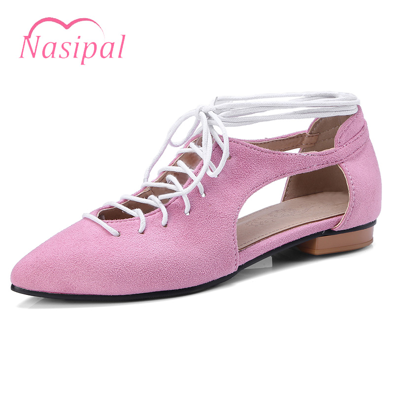 Nasipal Chuky Flat Shoes Woman Pointed Toe Roman Women Shoes Lace Up Gladiator Cut Outs Oxford Shoes Casual Zapatos FemininoC311 sweet women high quality bowtie pointed toe flock flat shoes women casual summer ladies slip on casual zapatos mujer bt123