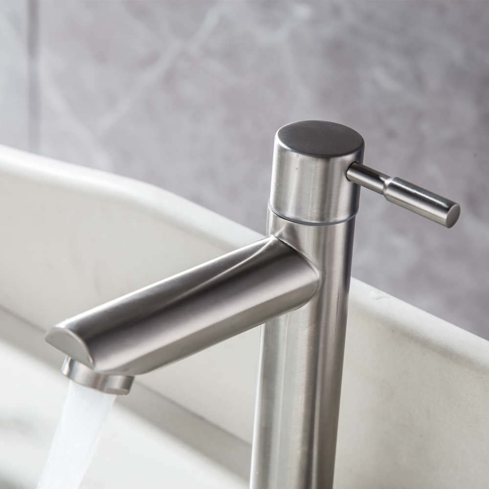 304 Stainless Steel Basin Faucets Single Cold Bathroom Faucet Single Handle Basin Mixer Tap Brass Sink Bath Faucet 4