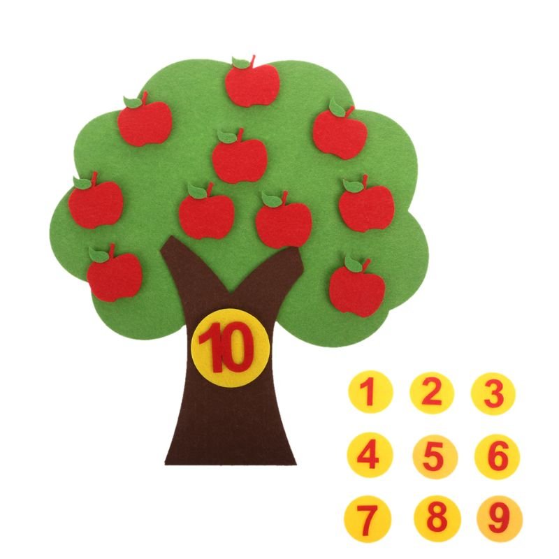 Apple Tree Match Digital Teaching Toy Montessori Educational Math Toy Non-woven Puzzle Creative Toy