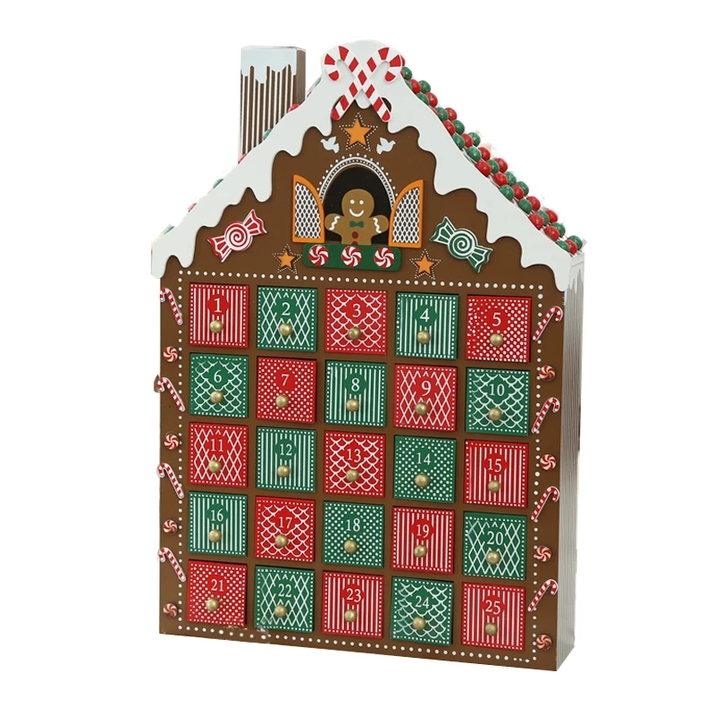 Christmas Advent House.Us 82 0 30 40cm Christmas Advent Calendar Wooden Gingerbread House Countdown Candy Box Christmas Decorations Diy For Home Gifts Display In Advent