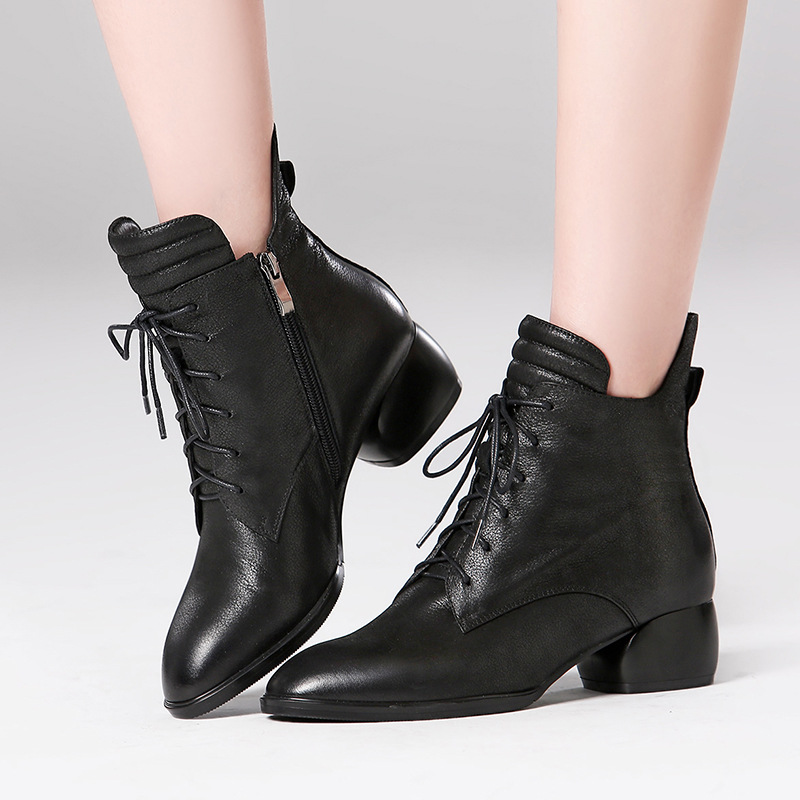 High-end leather booties female 2018 autumn and winter new thick-soled leather boots Martin boots side zipper boots women