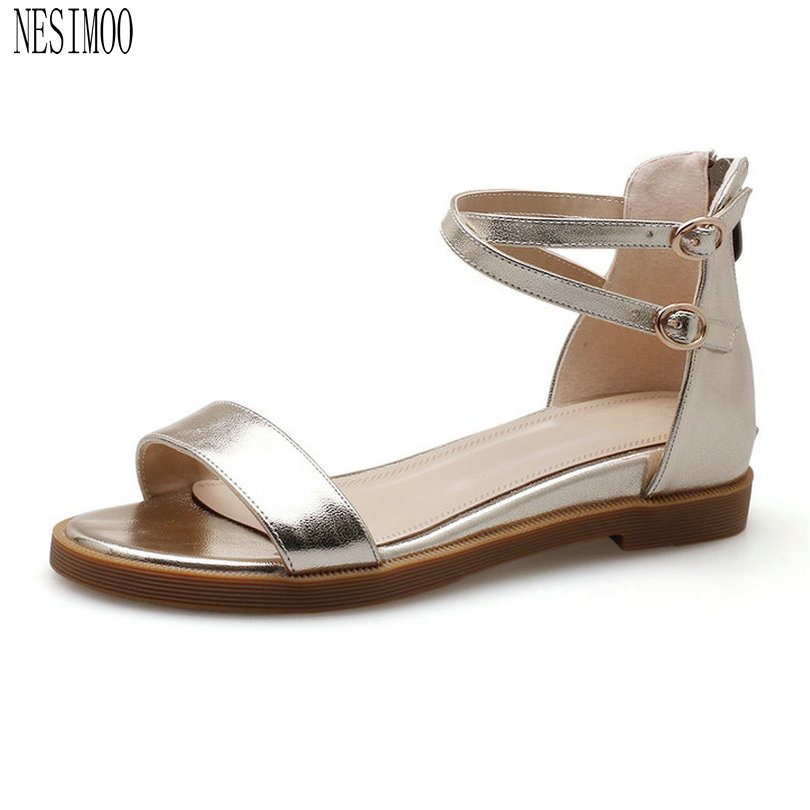 NESIMOO 2018 Women Sandals Genuine Leather Woman Cross-strap Buckle Square  Low Heel White Ladies 19fb23fd5dc5