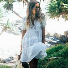 66e46d32b4f0 BOHO INSPIRED Casual Loose Fit Summer women white cotton mini dresses  bohemian style