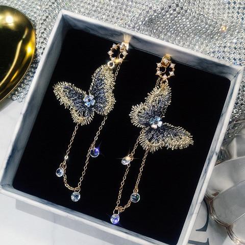 Pk Bazaar earings 2018 new korean embroidery butterfly long chain