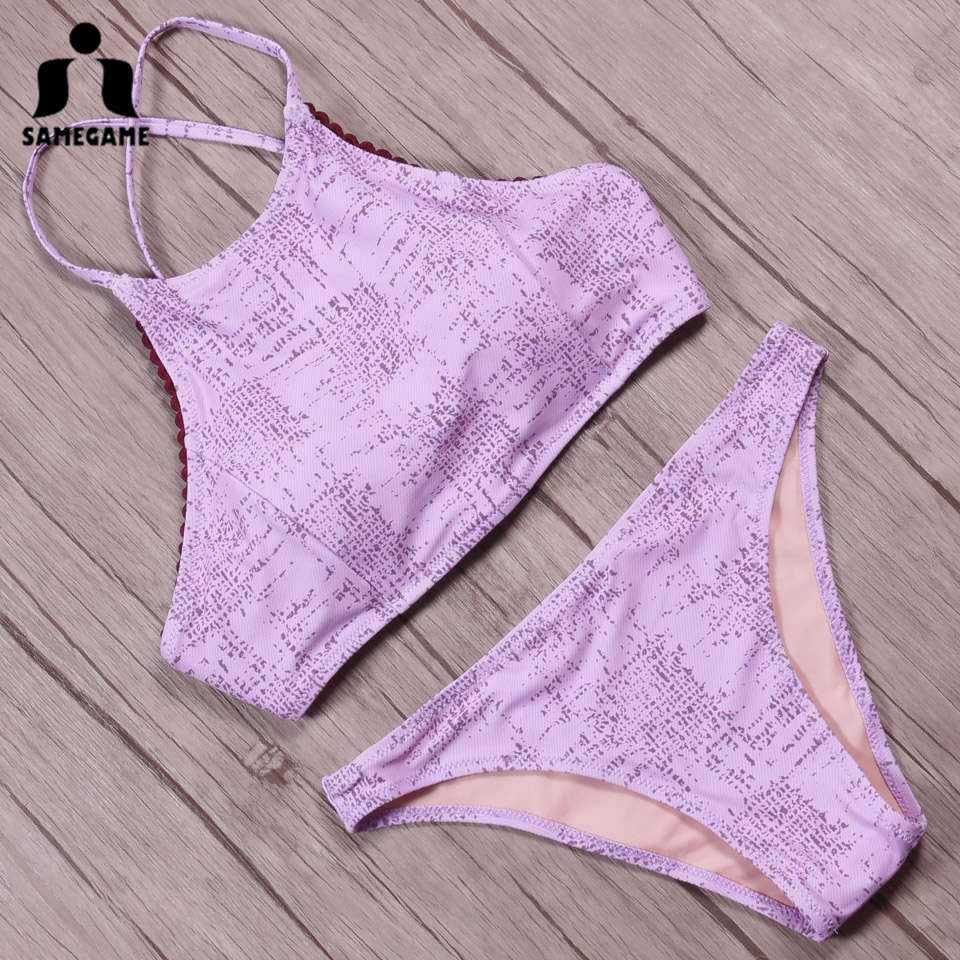 SAMEGAME High Neck Crop Top Bikini 2019 Sexy Swimwear Women Swimsuit Print Brazilian Bikini Set Halter Beach Wear Bathing Suit