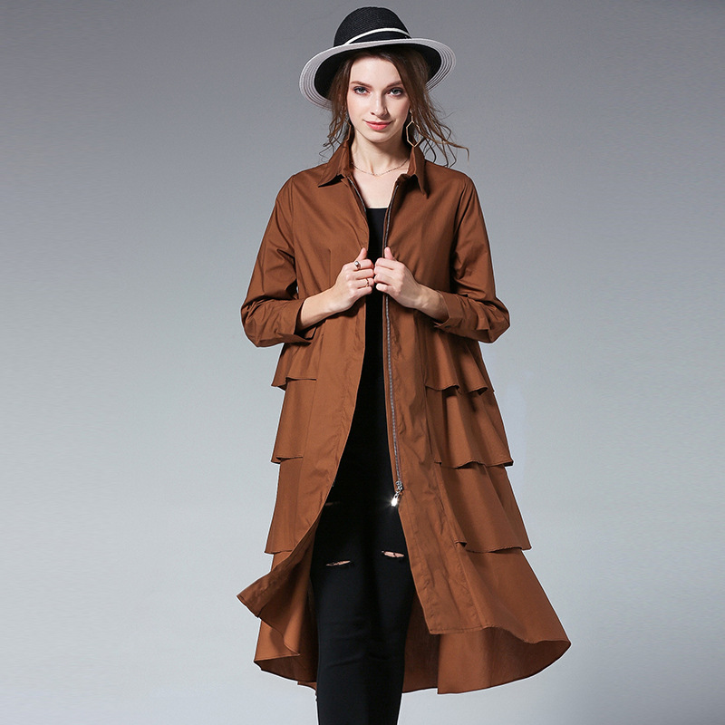 Wholesale Autumn Fashion Womens   Trench   Large Size Streetwear Long Loose Dress Lotus Leaf Style Blouse Skirts