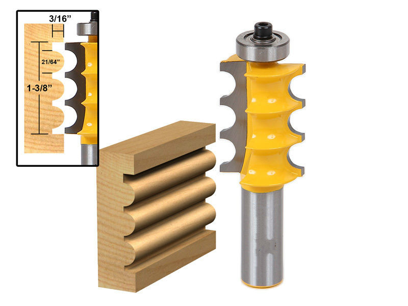 Large Triple Bead Column/Face Molding Router Bit -1/2 Shank wood milling cutter Top quality wood cutter cnc bit /milling tools 1 2 shank bullnose bead column face molding router bit alloy woodworking cutter for wood milling machines power tool