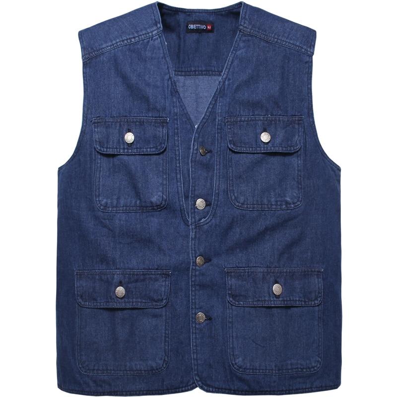 Men's Denim Vest Walking Travel Vests Sleeveless Jean Jacket Waistcoat Vest Reporter Photographer Vest
