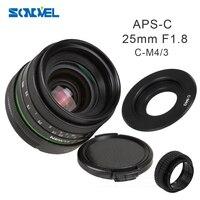 25 мм F1.8 APS-C ручная камера объектив + С-образное крепление для объектива адаптер + макро кольца Комплект фильтров для Olympus Panasonic Micro 4/3 M4/3 G7 G10 GH3 ...
