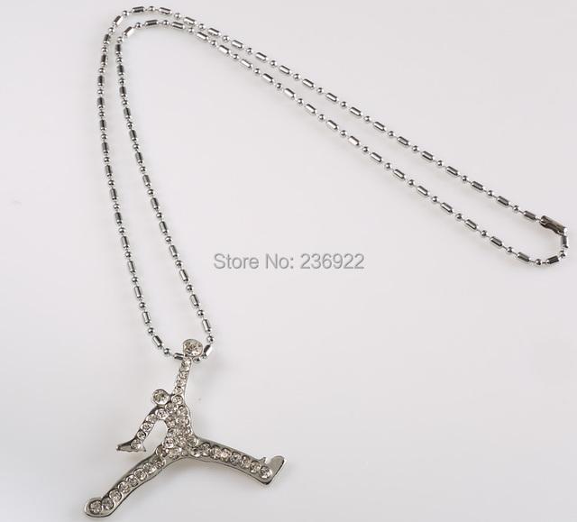 20pcs/lot Wholesale Fashion Gold/Silver Charm Jordan Necklace High Quality Men Jewelry Hot 2014,original factory supply